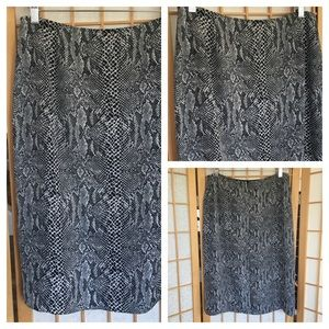 INC 100% Silk Animal Inspired Print Skirt SZ 8